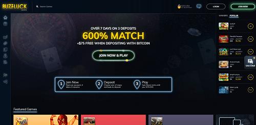 buzzluck-casino-homepage